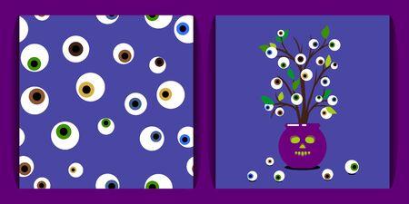 set voodoo con occhi umani. modello senza soluzione di continuità. vaso di piante voodoo con bulbi oculari umani e foglie su uno sfondo lilla. concetto di magia, misticismo e voodoo. per tessuto, carte, stampe, sfondi