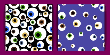 a set of templates with eyeballs. colorful eyeballs seamless pattern on a purple background. concept of magic, mysticism and voodoo. for fabric, cards, prints, wallpapers Vector Illustration