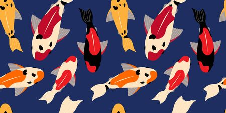 seamless pattern with koi carps of different colors floating in the water. for paper, cover, fabric, interior decor and other users 免版税图像 - 139602881