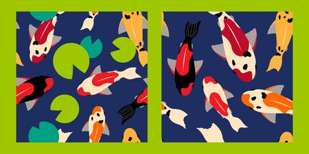 set of two seamless pattern with koi carps of different colors floating in the water. green water lilies. for paper, cover, fabric, interior decor and other users