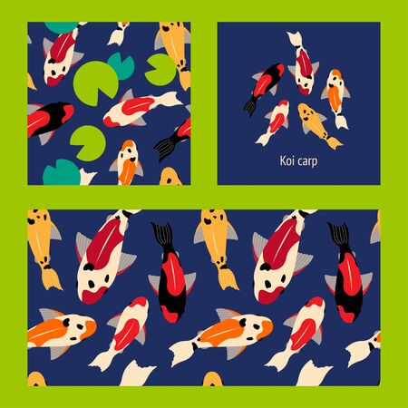 set of seamless pattern and illustration with koi carps of different colors floating in the water. green water lilies. for paper, cover, fabric, interior decor and other users