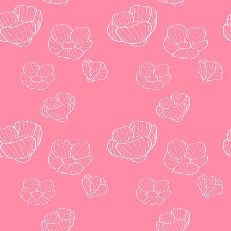 white linear flowers seamless pattern on a soft pink background. for paper, cover, fabric, interior decor and other users 免版税图像 - 139602896