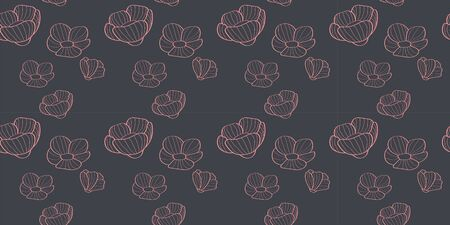 pale pink linear flowers seamless pattern on a gray background. for paper, cover, fabric, interior decor and other users
