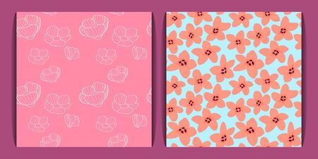 two seamless floral pattern. white linear flowers on a pink background and pale orange flowers. spring and summer mood. for paper, cover, fabric, interior decor and other users
