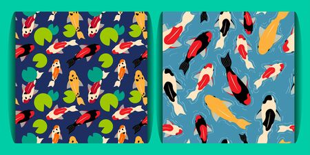 set of two seamless pattern with koi carps of different colors floating in the water. water white circle lines. green water lilies. for paper, cover, fabric, interior decor and other users 免版税图像 - 139602897
