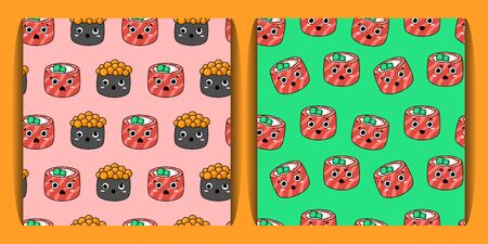 two seamless pattern with kawaii sushi. philadelphia rolls, sushi with caviar with different emotions. Japanese food. for paper, cover, fabric, interior decor and other users