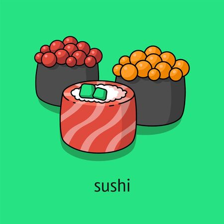 illustration of sushi, philadelphia roll, sushi with caviar, Japanese food on a green background. for paper, cover, fabric, interior decor and other users