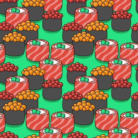 seamless pattern with japanese sushi on a green background. philadelphia rolls, sushi with caviar. Japanese food. for paper, cover, fabric, interior decor and other users