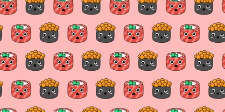 seamless pattern with kawaii sushi on a pink background. philadelphia rolls, sushi with caviar with different emotions. Japanese food. for paper, cover, fabric, interior decor and other users Vettoriali