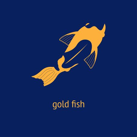 illustration of a goldfish carp koi on a dark blue background