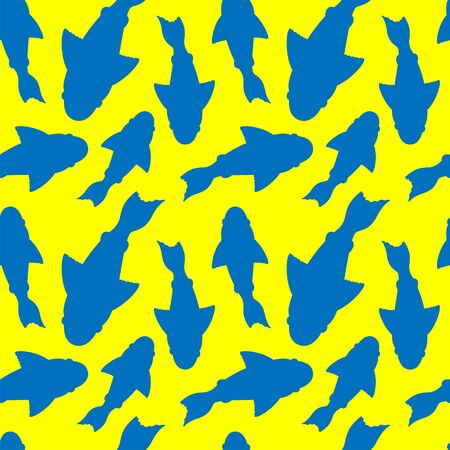 seamless pattern with silhouettes of blue fishes with fins on a yellow background. for paper, cover, fabric, interior decor and other users