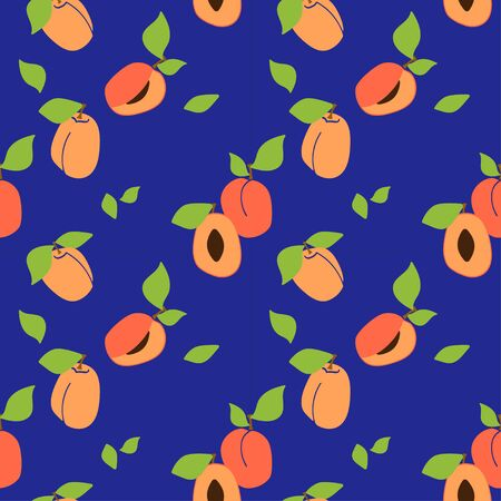 Vector seamless pattern with apricot pulp, peaches. dark blue background. Trendy hand drawn textures. Modern abstract design for paper, cover, fabric, interior decor and other users.  イラスト・ベクター素材