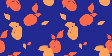 Vector seamless pattern with silhouette apricot, peaches. dark blue background. Trendy hand drawn textures. Modern abstract design for paper, cover, fabric, interior decor and other users.