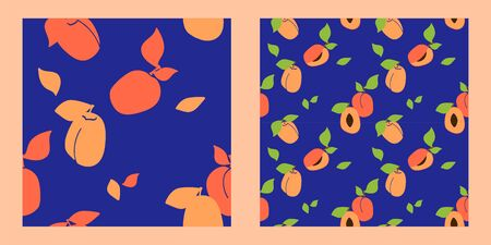 set of two seamless juicy fruit patterns on a navy blue background. apricots and peaches. Trendy hand drawn textures. Modern abstract design for paper, cover, fabric, interior decor and other users.