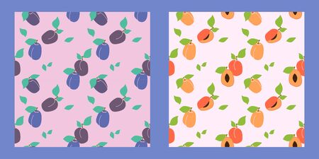 set of two seamless fruit patterns on a pale background. plums, apricots and peaches. Trendy hand drawn textures. Modern abstract design for paper, cover, fabric, interior decor and other users.
