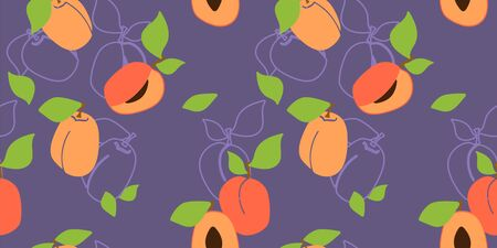 Vector seamless pattern with apricot pulp, peaches. purple background. Trendy hand drawn textures. Modern abstract design for paper, cover, fabric, interior decor and other users.  イラスト・ベクター素材