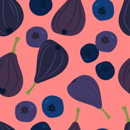 seamless pattern with figs, blueberries and bilberry on a pink background. Modern abstract design for paper, cover, fabric, interior decor