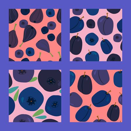 set of four seamless pattern with figs, blueberries, plums and bilberry on a pink background. Modern abstract design for paper, cover, fabric, interior decor