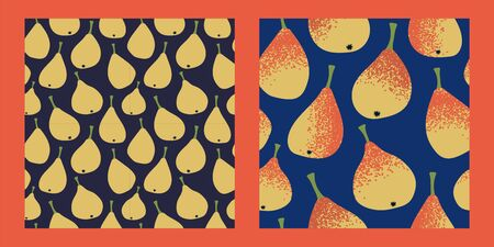 two seamless pattern with yellow-orange pears on a dark blue background. Modern abstract design for paper, cover, fabric, interior decor