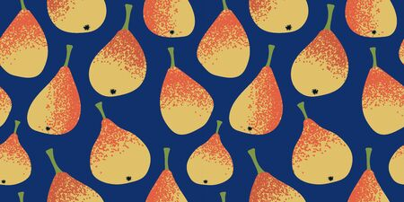 seamless pattern with yellow-orange pears on a dark blue background. Modern abstract design for paper, cover, fabric, interior decor