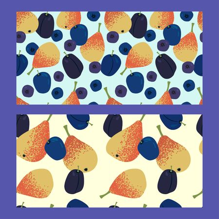 two mix fruit seamless pattern with juicy yellow-orange pears, blueberries, bilberry and plums on a light background. Modern abstract design for paper, cover, fabric, interior decor Ilustracja