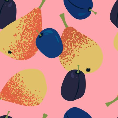 seamless pattern with juicy yellow-orange pears and plums on a light pink background. Modern abstract design for paper, cover, fabric, interior decor