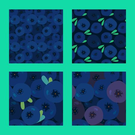 four seamless pattern with fresh blueberries and green leaves on a dark background. classic blue. Modern abstract design for paper, cover, fabric, interior decor