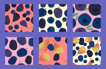 six exotic fruit seamless pattern with juicy yellow-orange pears, blueberries, figs, bilberry and plums on a light background. Modern abstract design for paper, cover, fabric, interior decor