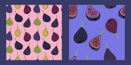 set of two seamless pattern with juicy sliced figs on a pink and lilac background. Modern abstract design for paper, cover, fabric, interior decor