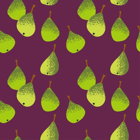 seamless template with green pears on a vinous background. Modern abstract design