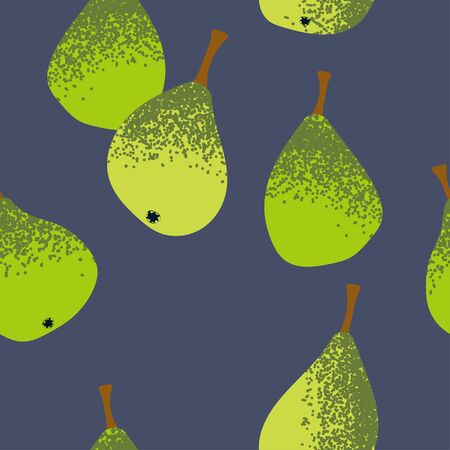 seamless template with green pears on a gray background. Modern abstract design
