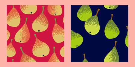 set of two seamless patterns with yellow and green pears on a bright pink and navy blue background.