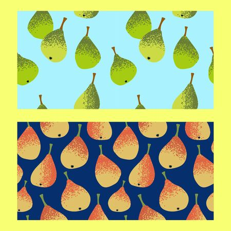 set of two seamless patterns with yellow and green pears on a blue and navy blue background.