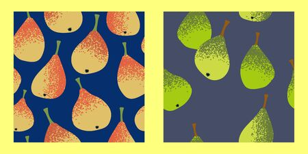 set of two seamless patterns with yellow and green pears on a gray and navy blue background. 일러스트