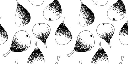 seamless pattern with black and white silhouettes of pears. Modern abstract design for paper, cover, fabric, interior decor