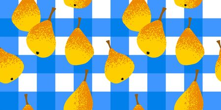 seamless pattern with a blue checkered tablecloth with pears. Modern abstract design for paper, cover, fabric, interior decor