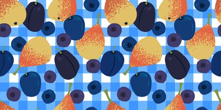 seamless pattern with juicy yellow-orange pears, blueberries, bilberry and plums on a light blue tablecloth. Modern abstract design for paper, cover, fabric, interior decor 일러스트