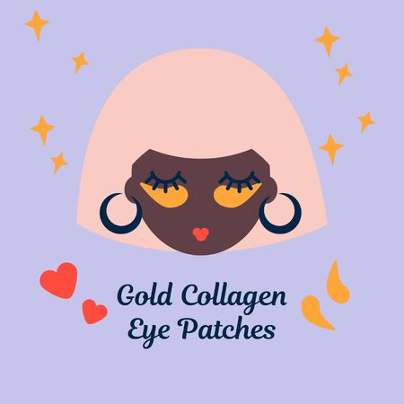 illustration with a black woman with golden collagen eye patches. Caring for the skin around the eyes 向量圖像