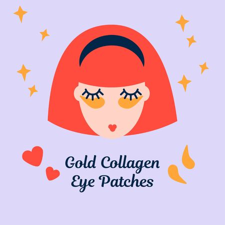 illustration with a woman with golden collagen eye patches. Caring for the skin around the eyes