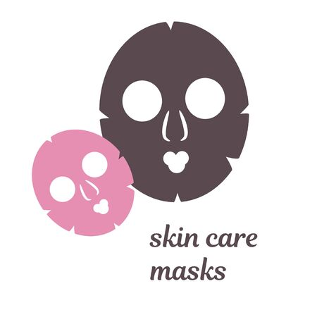 illustration with multi-colored moisturizing face skin care masks