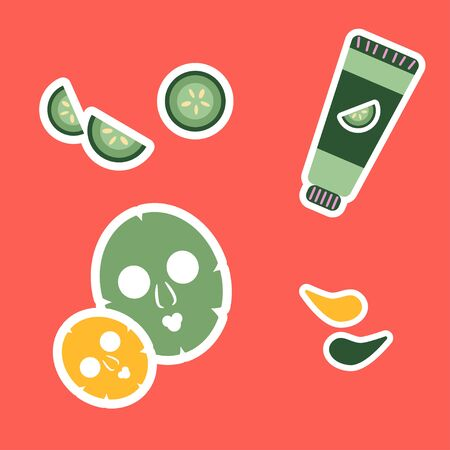 set of illustrations with stickers for skin care. face mask, cucumber-based skin cream and eye patches 向量圖像