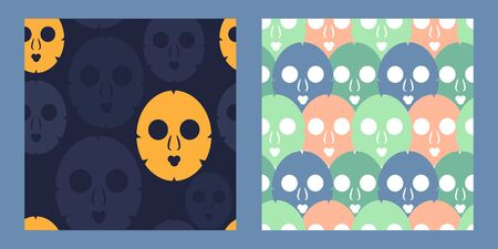 two seamless pattern with cosmetic masks for skin care. Modern abstract design for paper, cover, fabric, interior decor