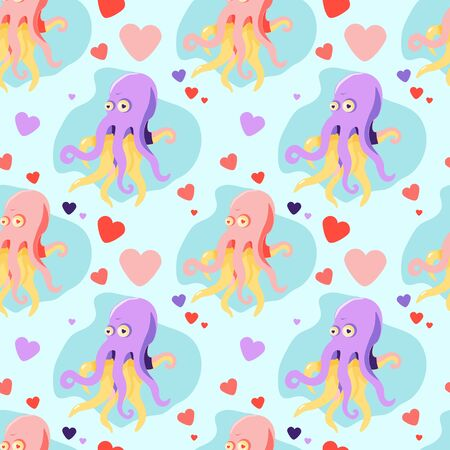 seamless pattern with pink and lilac cartoon octopus in love and hearts on a light blue background  イラスト・ベクター素材