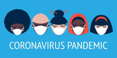 Coronavirus pandemic. Covid-19. illustration with people of different nationalities in white medical face masks on a blue background 写真素材 - 142375392