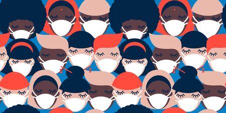 Coronavirus pandemic. Covid-19. seamless pattern with people of different nationalities in white medical face masks  イラスト・ベクター素材