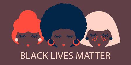 poster with black women. black lives matter. Modern abstract design