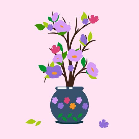 illustration of a flowering plant in a pot on a pink bacground. lilac flowers, buds and green leaves