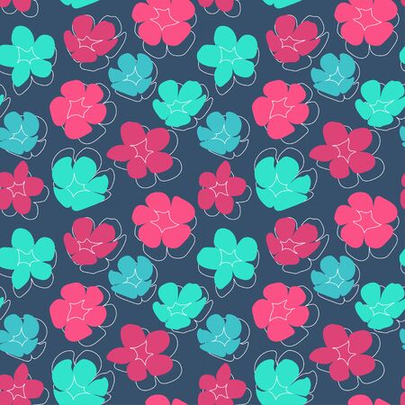 seamless pattern with silhouettes of bright green, blue, turquoise and pink flowers on a gray background. Modern abstract design for paper, cover, fabric, interior decor