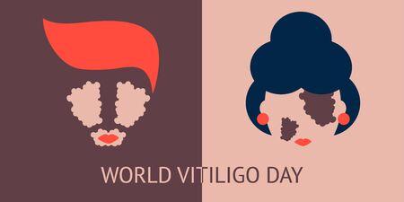 illustration of two icons world vitiligo day. woman and man who have vitiligo disease