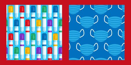 set of two seamless patterns with test tubes with colorful caps and blue medical masks. Coronavirus pandemic. Covid-19